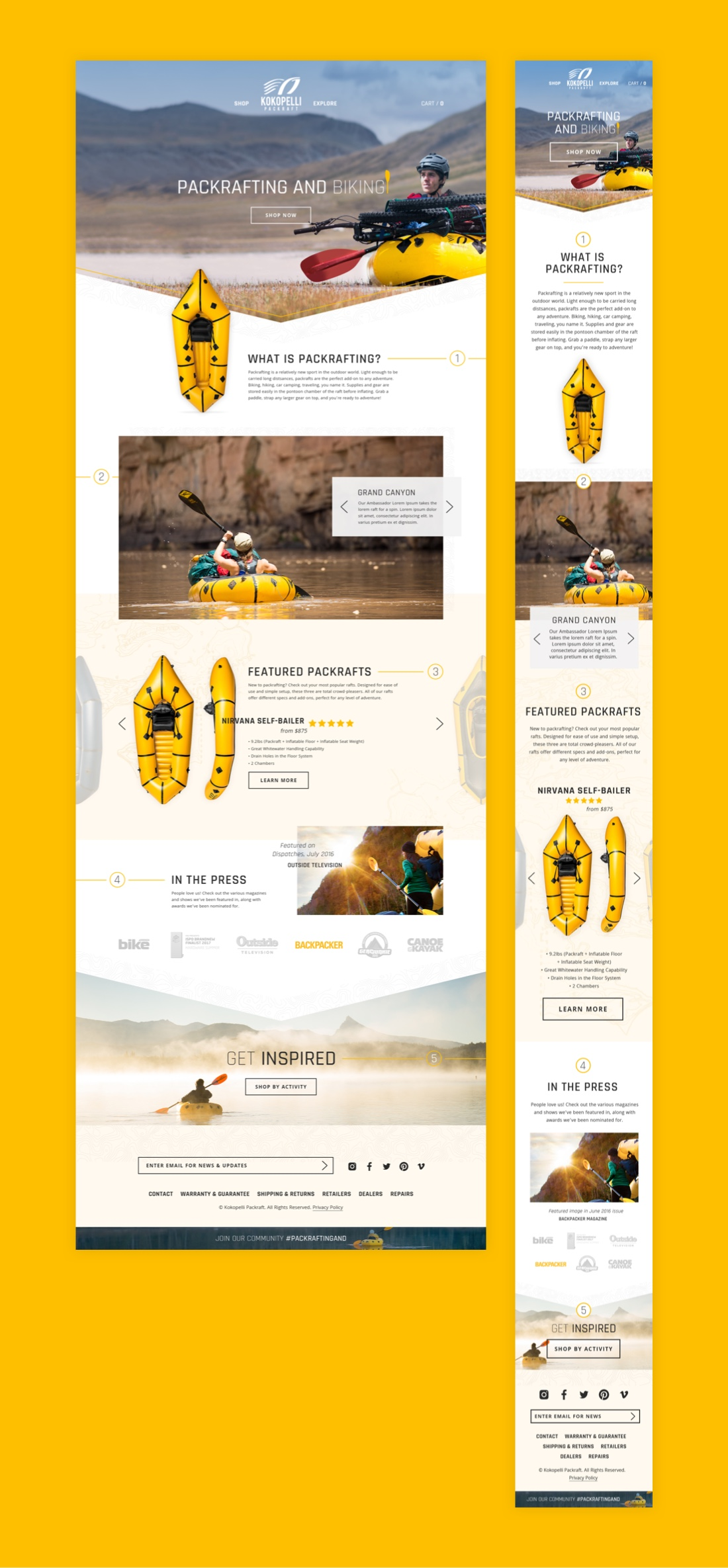 Kokopelli Packraft Homepage Design