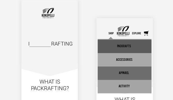Kokopelli Packraft Mobile Wireframe
